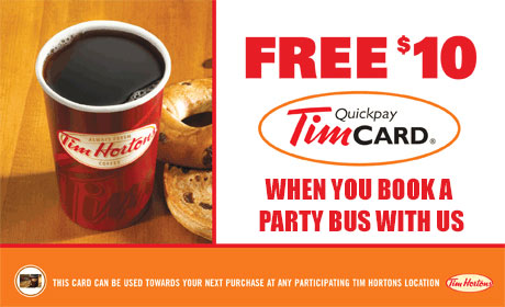 Tim Hortons Gift Card for Party Bus Rentals